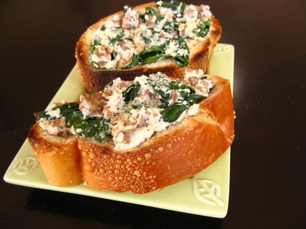 Italian Sausage Spinach and Ricotta Toasts. Photo by WiGal