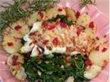 Sea Bass on a Bed of Swiss Chard and Browned Rosemary Potatoes