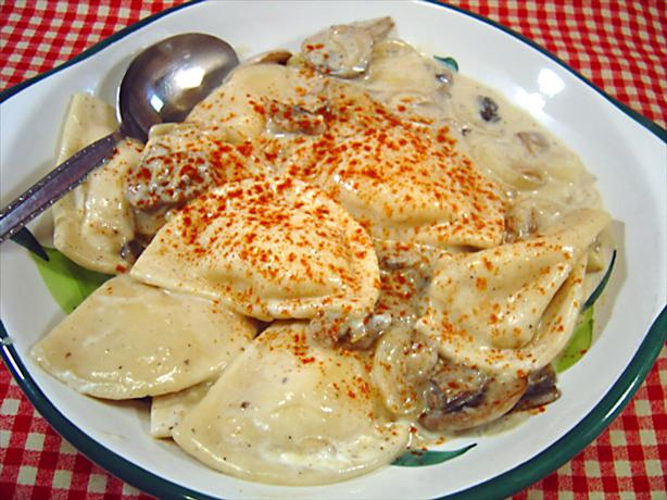 Pierogies With Creamy Mushroom and Sherry Sauce. Photo by :(