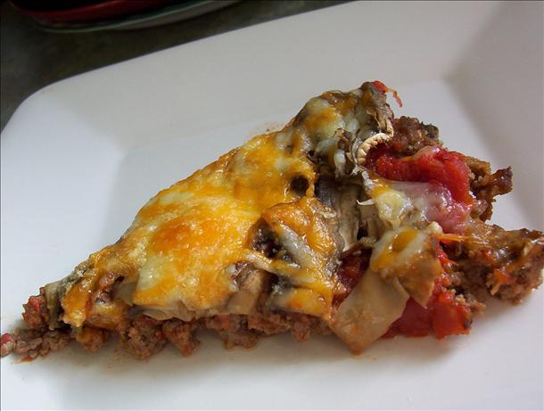 No Dough Meat Crust  Pizza for the Low Carb Dieter. Photo by * Pamela *