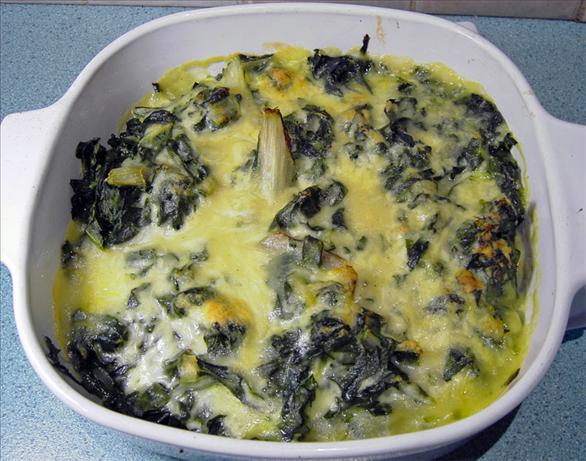 Swiss Chard in Sauce Gruyere. Photo by JustJanS
