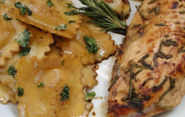 Rosemary Chicken Breasts & Brown Butter Balsamic Ravioli. Photo by Debbwl