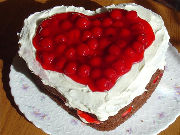 Heart Shaped Chocolate & Cherries & Cream Cake. Photo by Pumpkie