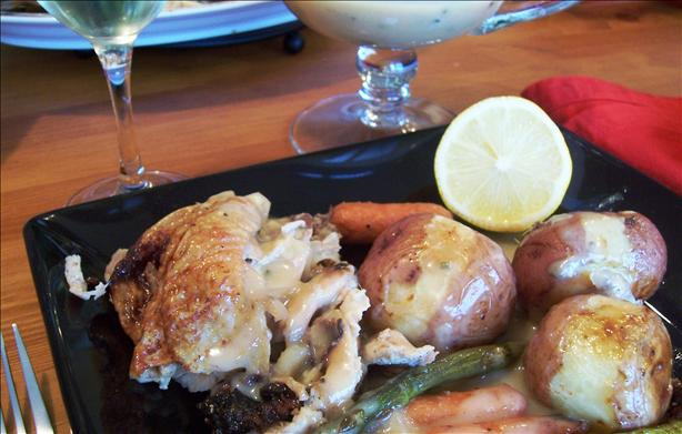 Roasted Chicken With Spring Vegetables and Lemon-Honey Sauce. Photo by lazyme