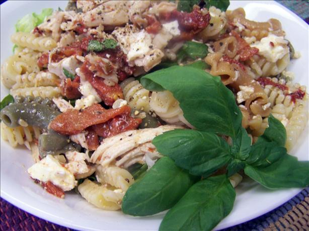 Chicken, Roasted Capsicum, Feta and Walnut Pasta Salad. Photo by PaulaG