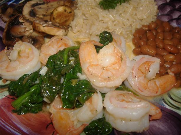 Sauteed Shrimp and Spinach. Photo by vivmom