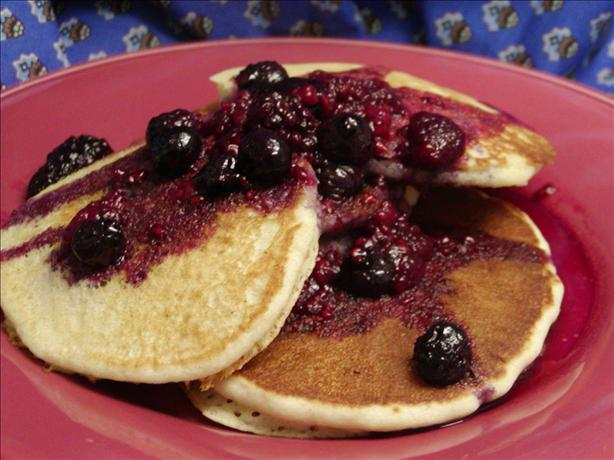Cornmeal Pancakes With Blueberry Maple Syrup. Photo by Rita~