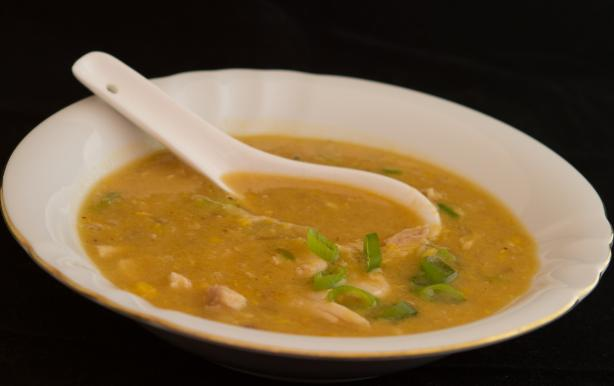 Chinese Chicken and Corn Soup (Egg Drop). Photo by Peter J