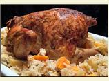 Swedish Roast Chicken With Spiced Apple Rice