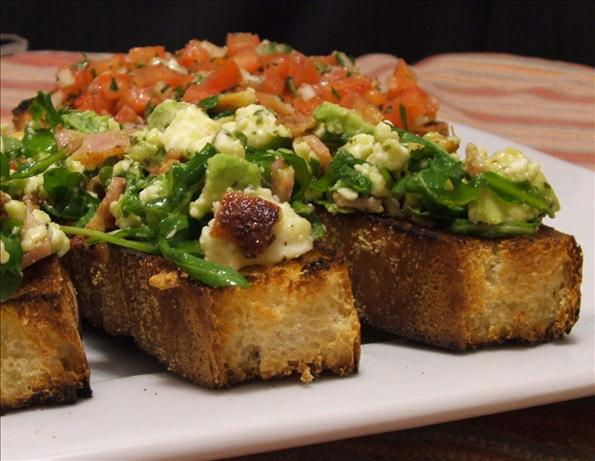 Avocado, Feta and Pancetta Bruschetta. Photo by Fairy Nuff