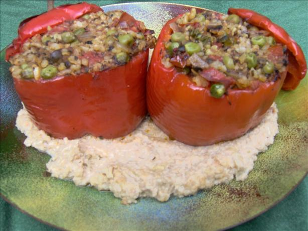 Stuffed Bell Peppers With a Savoury Cashew Sauce. Photo by Sharon123