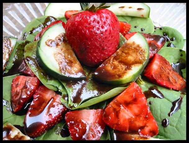 Strawberry Salad With Chocolate Balsamic Dressing. Photo by NcMysteryShopper