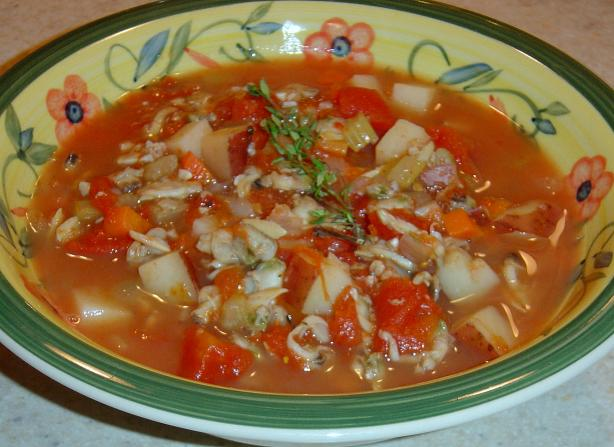 Manhattan Clam Chowder (Quick). Photo by :(