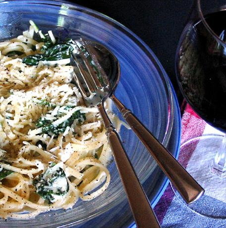 Spinach Fettuccine. Photo by Caroline Cooks