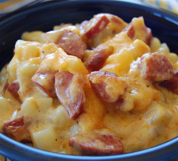 Jolean's Cheese Potato & Smoked Sausage Casserole. Photo by rickoholic83
