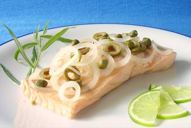 Salmon Poached in Champagne With Capers & Tarragon. Photo by Thorsten