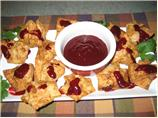 Crab Wontons With Szechuan Blackberry Sauce