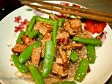 Stir-Fried Tofu With Mushrooms, Sugar Snap Peas, and Green Onion