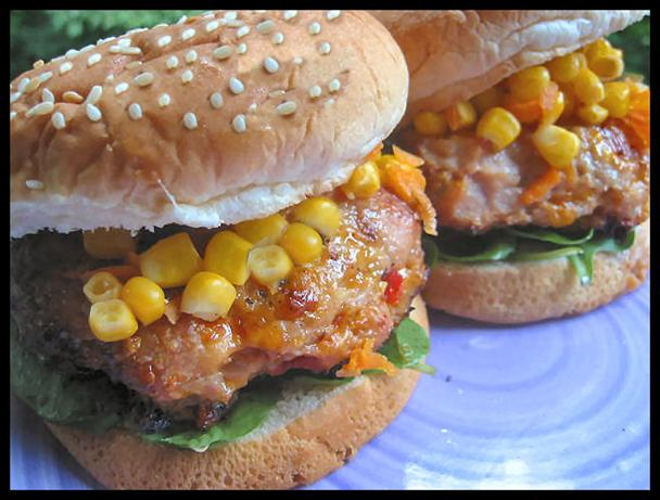 Cheesy Chicken Burger W/ Corn & Carrot Relish. Photo by NcMysteryShopper