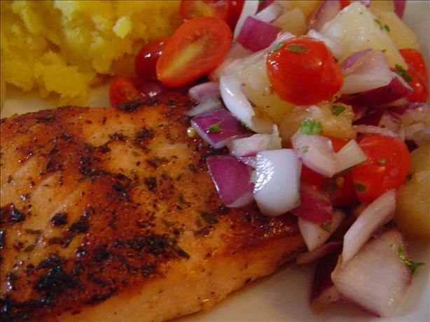 Grilled Cajun Salmon With Tomato Pineapple Salsa. Photo by CountryLady