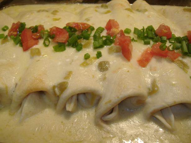 Chicken Enchiladas...white Sauce...rich!. Photo by vivmom