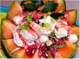 Shrimp Summer Salad in  Cantaloupe Bowls