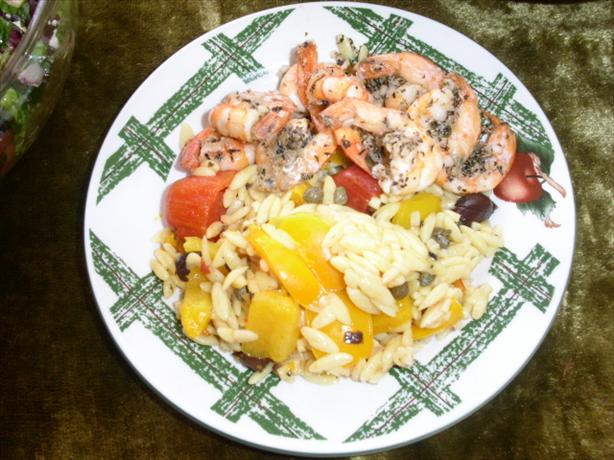 Shazam! Shrimp With Mediterranean Orzo. Photo by Chabear01