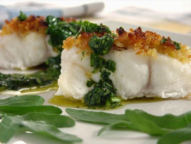 Roasted Halibut With Fresh Herb Sauce. Photo by Thorsten