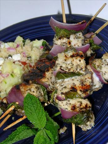 Grilled Chicken, Red Onion, and Mint Kebabs. Photo by justcallmetoni