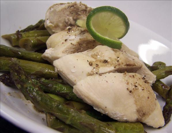 Steamed Lime-And-Pepper Chicken With Glazed Asparagus. Photo by PaulaG