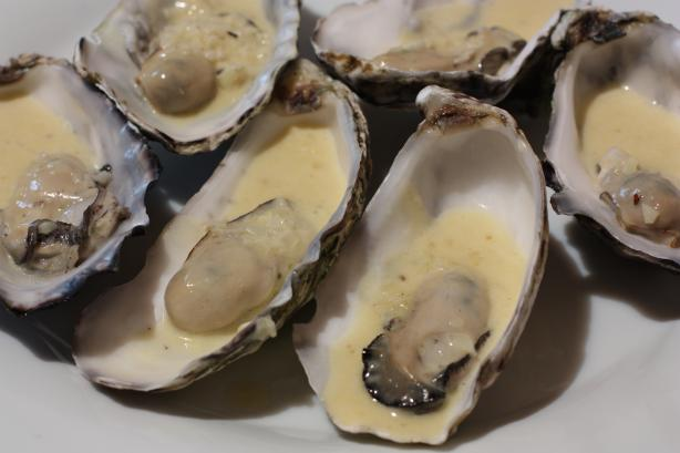 Australian Oysters in Champagne Sauce. Photo by Peter J