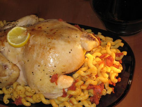 Roast Chicken With Ginger, Macaroni and Caramelized Tomatoes. Photo by bikerchick