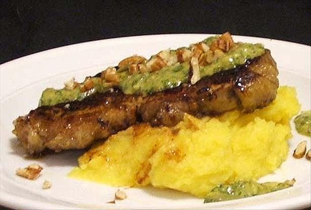 Chargrilled Sirloin With Mash and Salsa Verde. Photo by Fairy Nuff