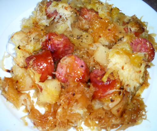 Sausage, Sauerkraut & Apples. Photo by Bergy