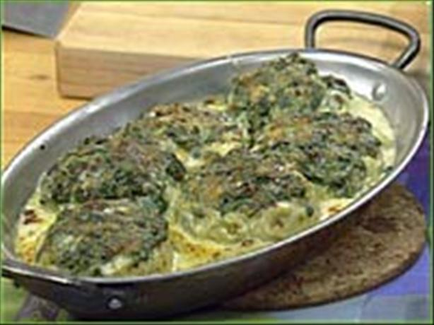 Spinach Stuffed Artichoke Bottoms. Photo by hungerbuster