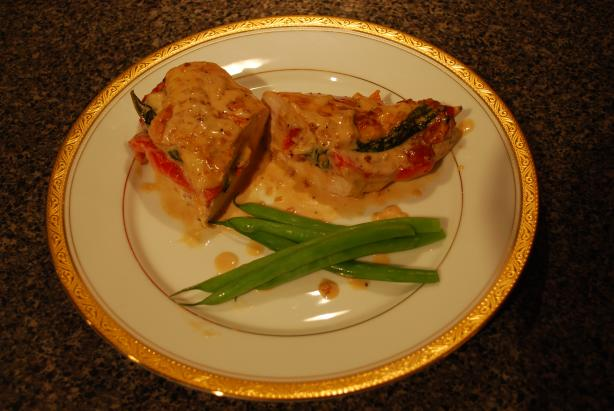 Red Bell Pepper Stuffed Chicken With White Cream Sauce. Photo by Sous Chef Bentley