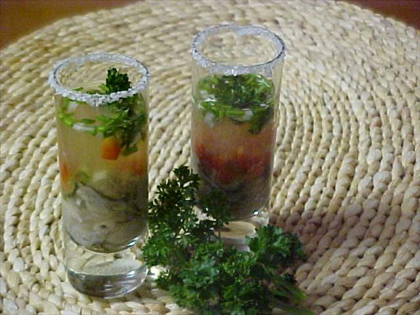 Tequila-Oyster Shooters. Photo by Chef PotPie