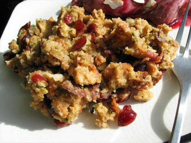 Simple Cranberry and Toasted Walnut Stuffing. Photo by flower7