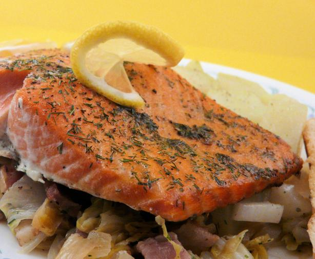 Slow-Roasted Salmon With Cabbage, Bacon & Dill. Photo by PaulaG