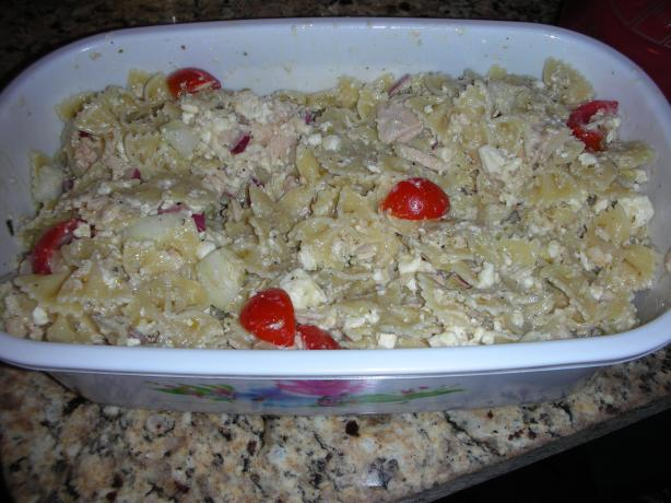 Greek-Style Tuna and Bow Tie Pasta Salad. Photo by JackieOhNo!