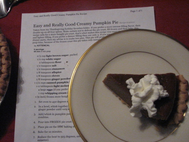 Easy and Really Good Creamy Pumpkin Pie. Photo by Elmotoo