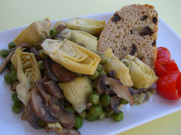 Artichoke Hearts, Green Peas and Mushrooms in a Lemon Sauce. Photo by Chef*Lee
