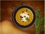 Butternut Squash Soup With Coriander and Pumpkin Seed Pesto
