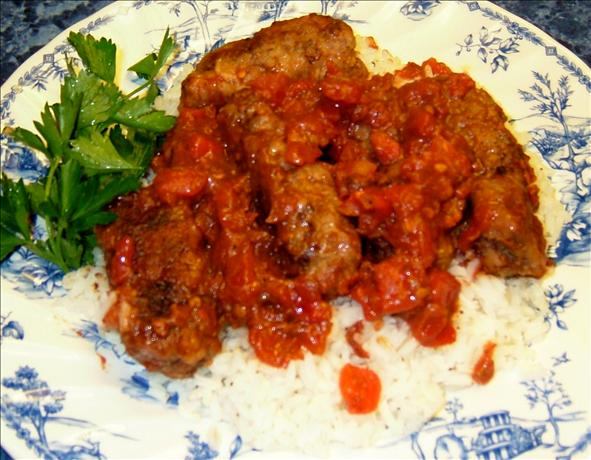 Soutzoukakia (Greek Meatballs in Tomato Sauce). Photo by PanNan