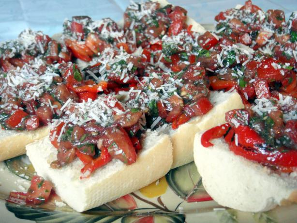 Bruschetta With Roasted Red Peppers  Yummy!. Photo by Lori Mama