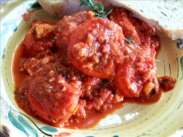 Crevettes With Feta and Tomato Sauce. Photo by Rita~