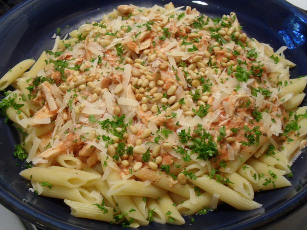 Chicken and Tomato Sauce With Basil and Pine Nuts on Pasta. Photo by vivmom