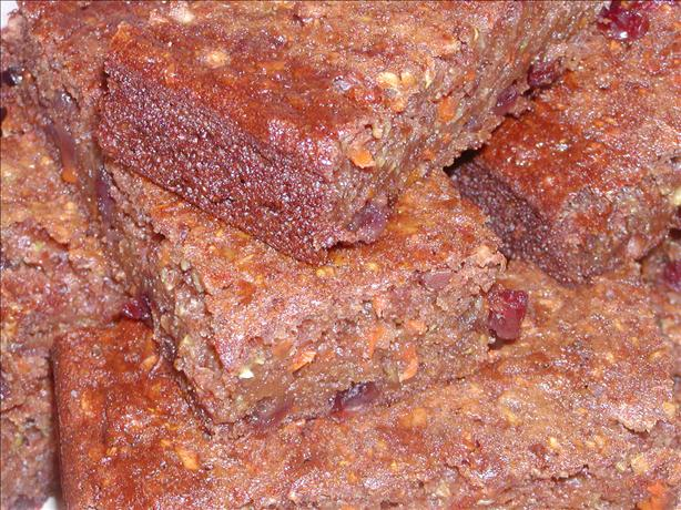 Extremely Healthy Fiber Packed Zucchini Carrot Cranberry Bars. Photo by Tia Mouse