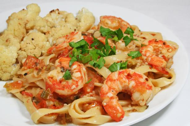 Easy Spicy Shrimp Pasta  - Low Fat. Photo by HeatherSiems