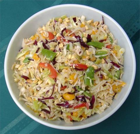 Asian Coleslaw With Peanuts and Mandarin Oranges. Photo by Deb's Recipes
